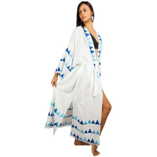 2713-Blue-Block-Print-Maxi-Kimono-Blue