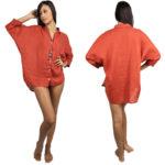 Opus Oversize Beach Dress - Brick