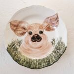 Hand Painted Plates 28cm - PIG