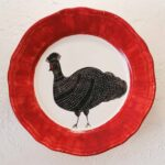 Hand Painted Plates 28cm - RED CIRCLE